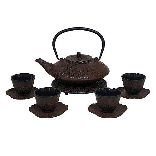 Reddish Brown Cast Iron Tea Set with 4 Cups and Leaf Design Saucers, 40 Oz Capacity