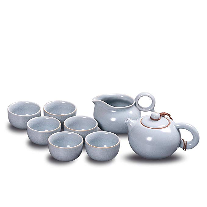 Newchinaroad Ru ware sky-blue Xishi tea set-100% Chinese ceramic Kungfu tea set-1 teapot & 1 sharing pot & 6 teacups (8pcs)