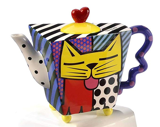 Romero Britto Yellow Cat Square Teapot