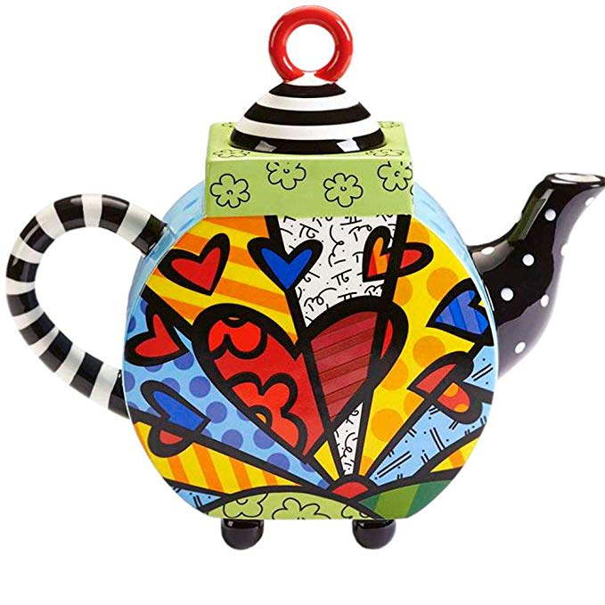 Romero Britto Ceramic Teapot, A New Day - 63 ounces