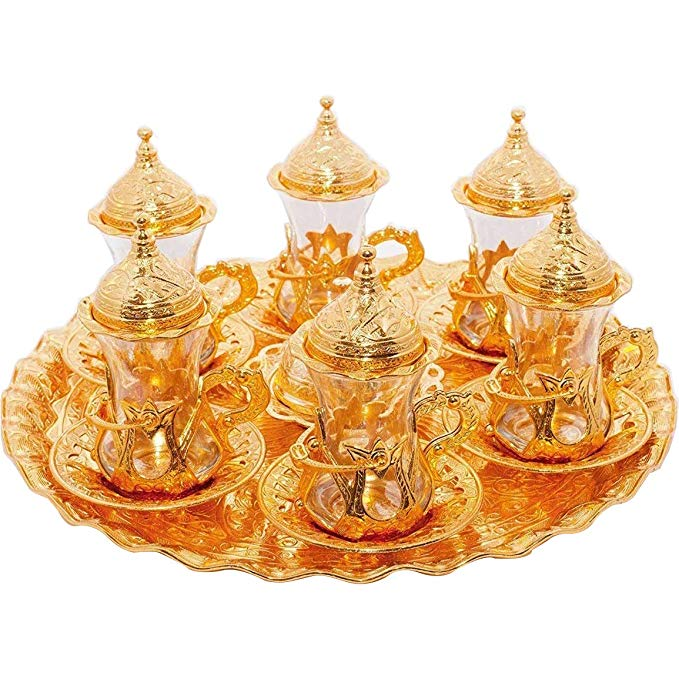 (SET of 6) Turkish Tea Glasses Set Saucers Holders Spoons Decorated (Gold) (Eski)