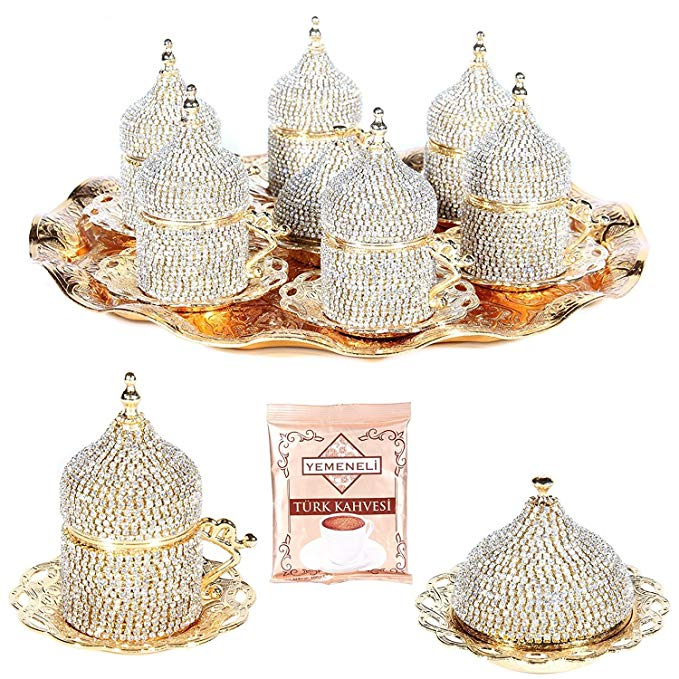 27 Pc Turkish Greek Arabic Coffee Espresso Cup Saucer Crystal Set GOLD