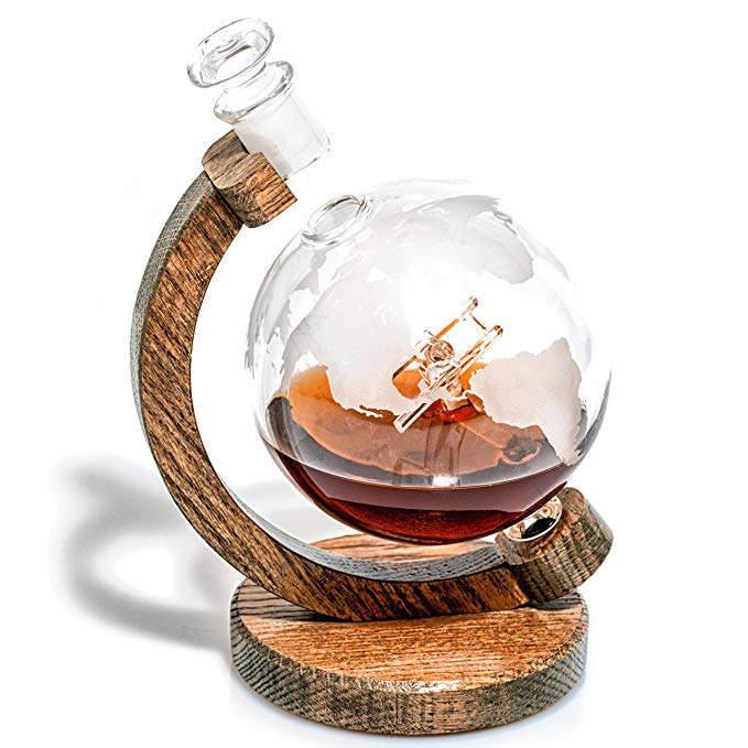 Etched Globe Liquor Decanter - Scotch Whiskey Decanter - 1000ml Glass Decanter for Alcohol - Vodka, Bourbon, Rum, Wine, Tequila or Even Mouthwash - Sopwith Camel (Prestige Decanters)