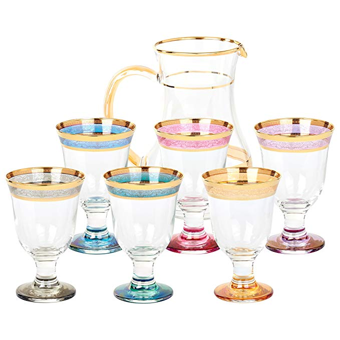 Lorren Home Trends 9443 7 Piece Melania Collection Pitcher Set, Multicolored