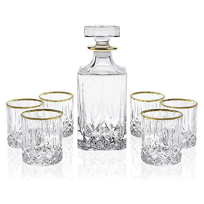 Elegant Manhattan Style Crystal Liquor Whiskey and Wine Decanter Set. Irish Cut 7 Piece Set 1 Decanter. 6 Old Fashioned 6 Oz DOF Glasses with 24k Gold Trim.