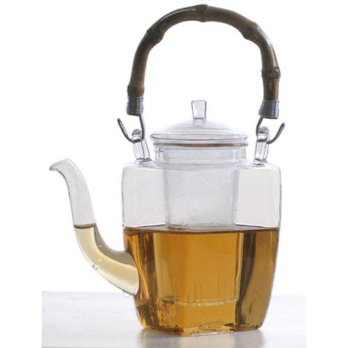 Unique Chinese Yixing Glass Tea Pot Bamboo Handle 12 ounces