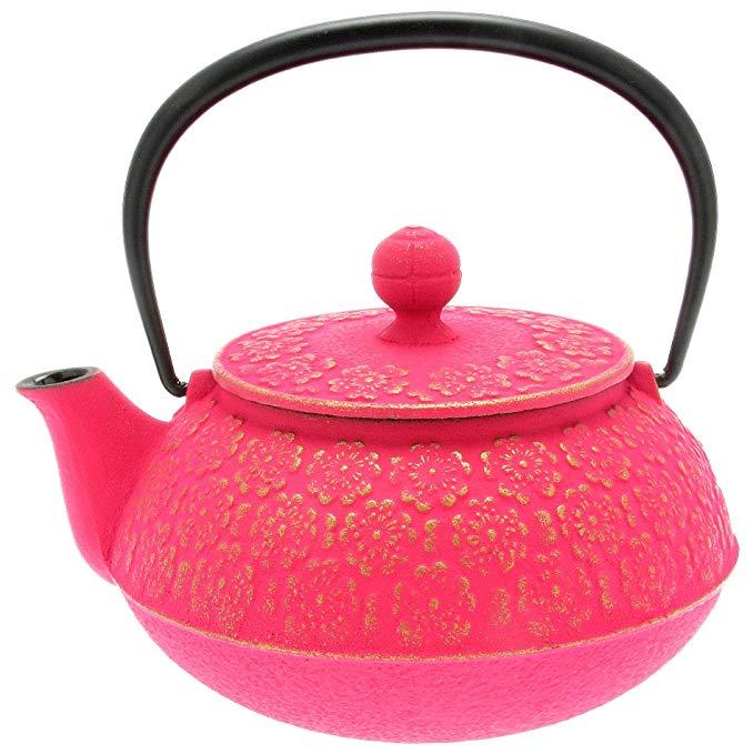 Iwachu Japanese Iron Tetsubin Teapot, Cherry Blossoms, Gold and Pink